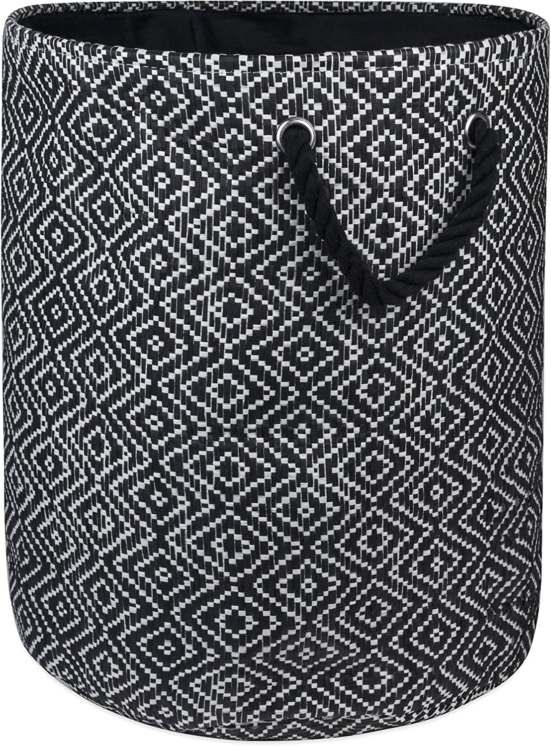 """DII Woven Paper Basket or Bin, Collapsible & Convenient Home Organization Solution for Bedroom, Bathroom, Dorm or Laundry(Large Round - 15x20""""), Black & White Diamond Basketweave"""