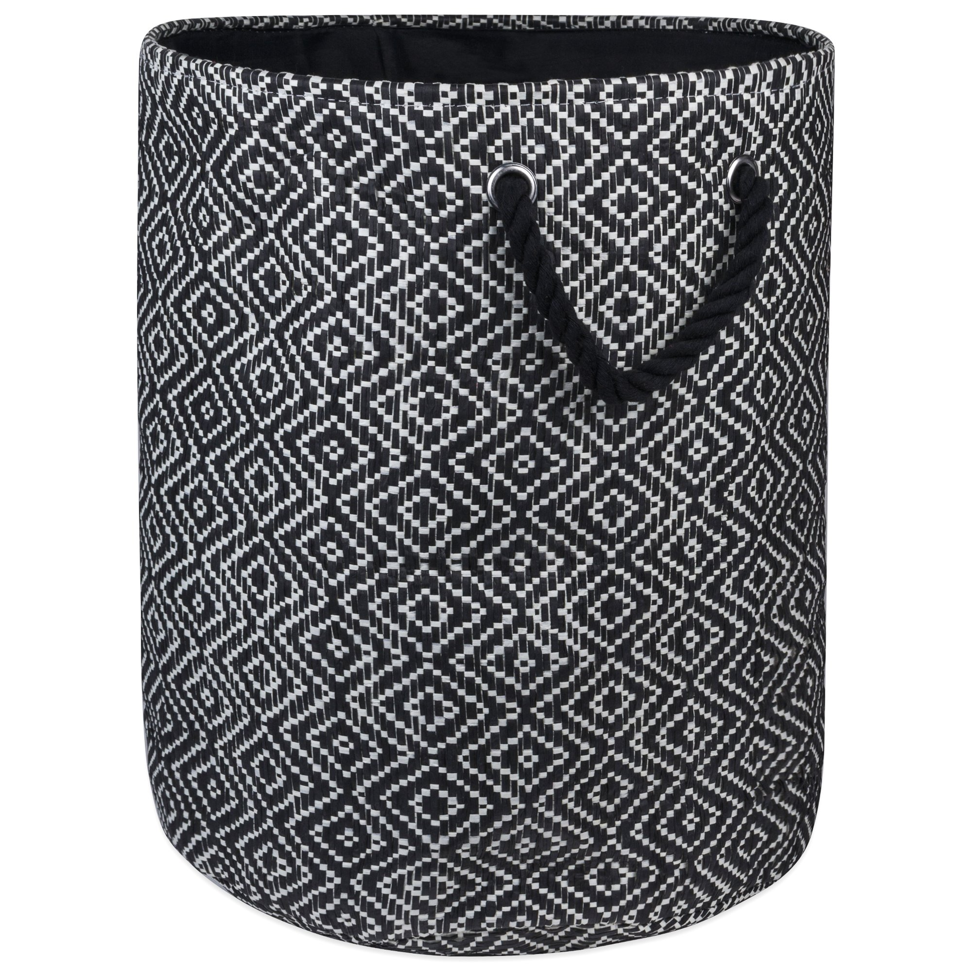 """DII Woven Paper Basket or Bin, Collapsible & Convenient Home Organization Solution for Bedroom, Bathroom, Dorm or Laundry(Medium Round - 14x17""""), Black & White Diamond Basketweave"""