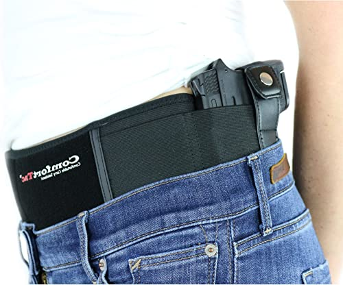 ComfortTac Ultimate Belly Band Holster Deep Concealment Edition - Black | Fits Glock 19 43 26 Smith and Wesson MP Shield Bodyguard Ruger LC9 Sig Sauer More...