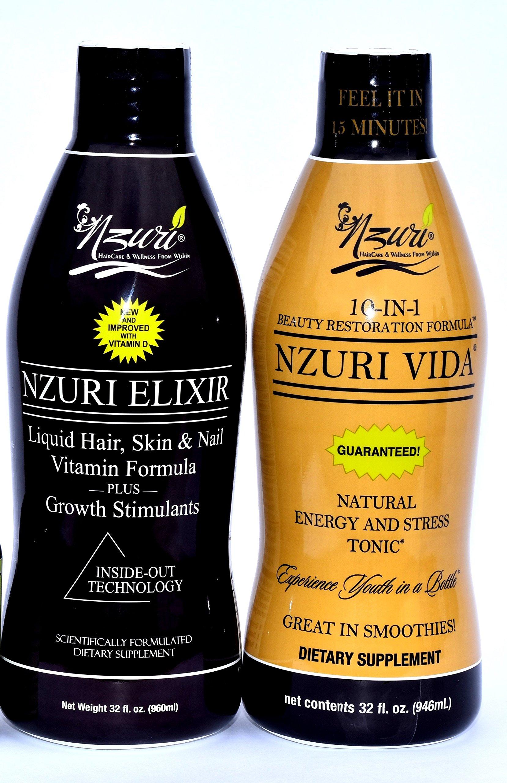 Nzuri Elixir Liquid Hair Vitamins Hair Regrowth 32 Oz Bottle + Nzuri Vida Energy and Stress Tonic 30 Oz Bottle - The Perfect Duo