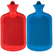 SteadMax Hot Water Bottle, Natural Rubber -BPA FREE- Durable Hot Water Bag for Hot Compress and Heat Therapy, Random Colors (2 pack)