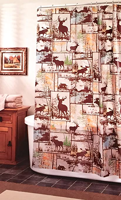 Deer Moose Adirondack Lodge Peva Vinyl Shower Curtain