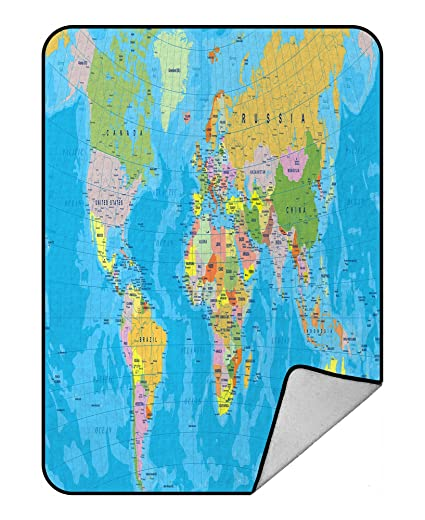 Amazon Com Handstomeb Custom Educational Blanket Colored World Map