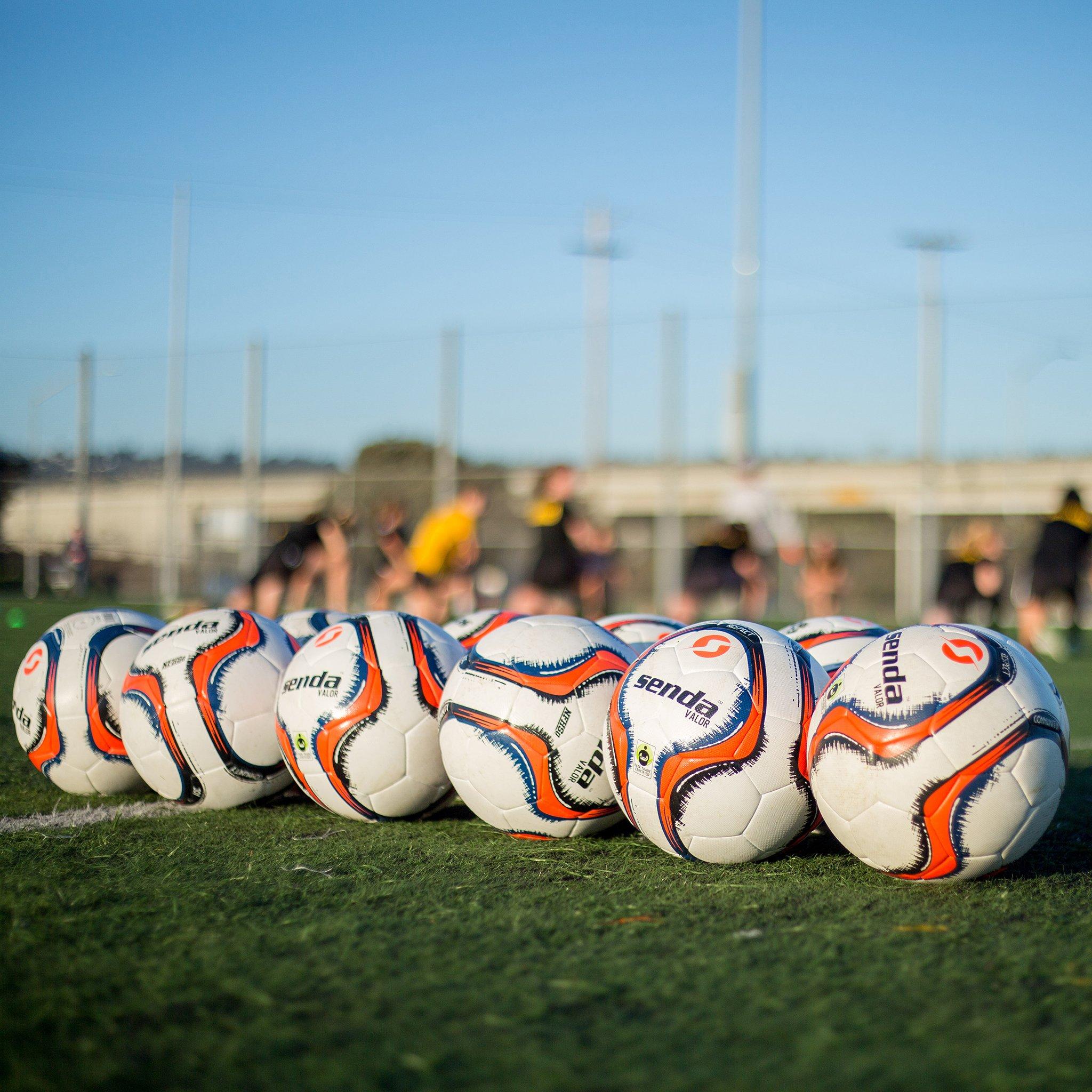 Senda Valor Match Soccer Ball, Fair Trade Certified, Orange/Navy Blue, Size 5 (Ages 13 & Up) by S Senda (Image #3)