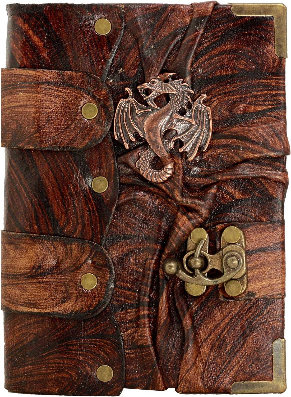 Dragón Chino Emblema Colgante en Diario de cuero Marrón / Diario / Bloquear / Marrón Estilo Vintage / Notebook / Papel normal / libro / Mujer / Hombre / Los niños / Trabajo de oficina