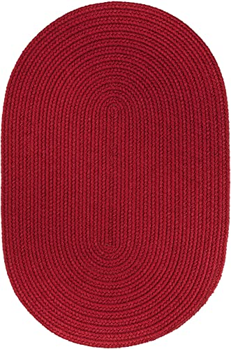 Super Area Rugs Maui Braided Rug Indoor Outdoor Rug Washable Reversible Red Patio Porch Kitchen Carpet, 2 X 3 Oval