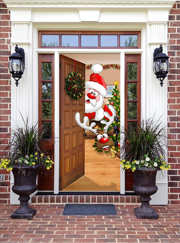 Amazon Com Victory Corps Christmas Front Door Banner Mural Sign Decor Santa And Rudolph The Original Holiday Garage And Front Door Banner Decor Garden Outdoor