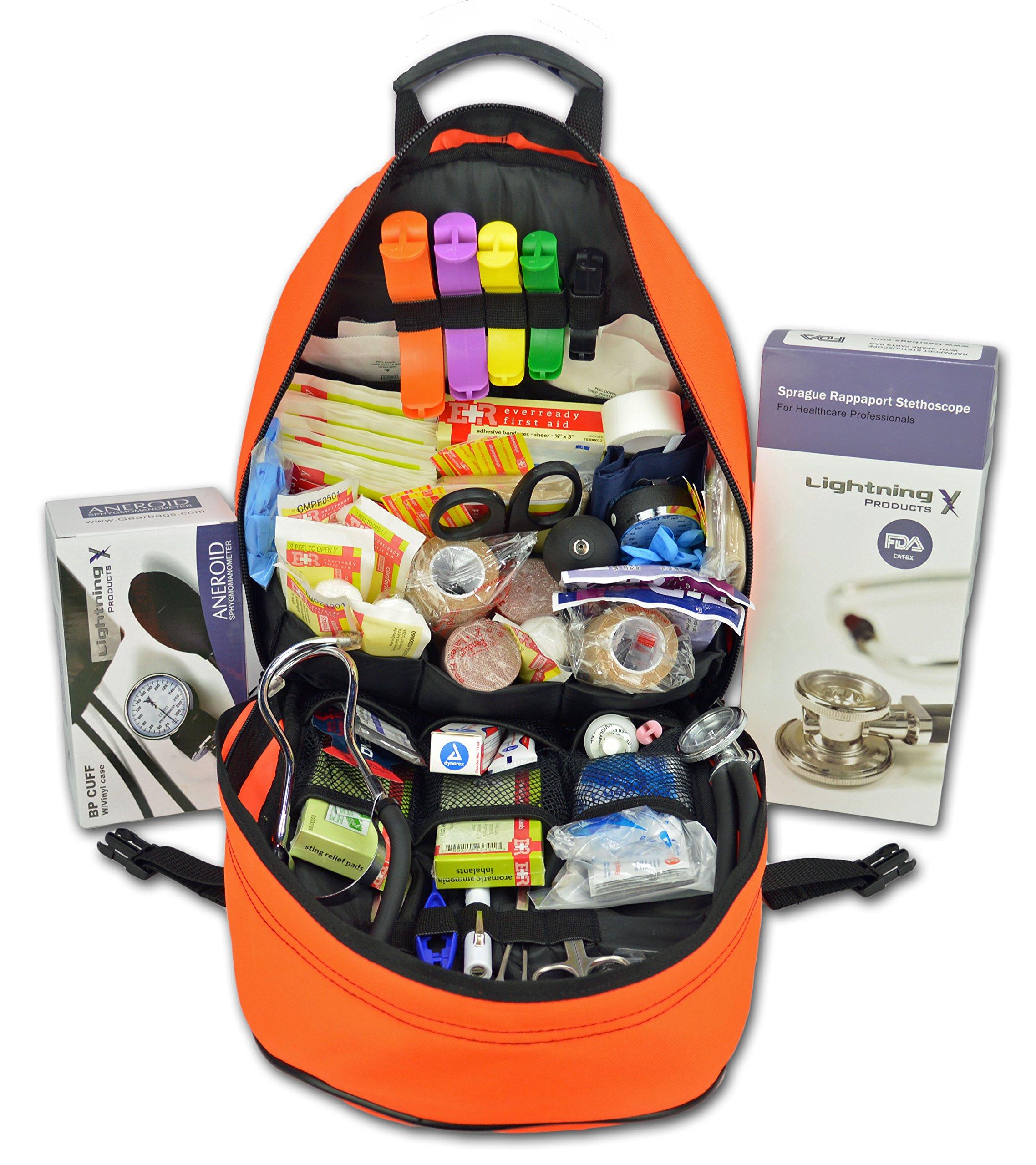 Lightning X First Responder EMT/EMS Backpack Stocked First Aid Supplies Kit B (Fluorescent Orange)