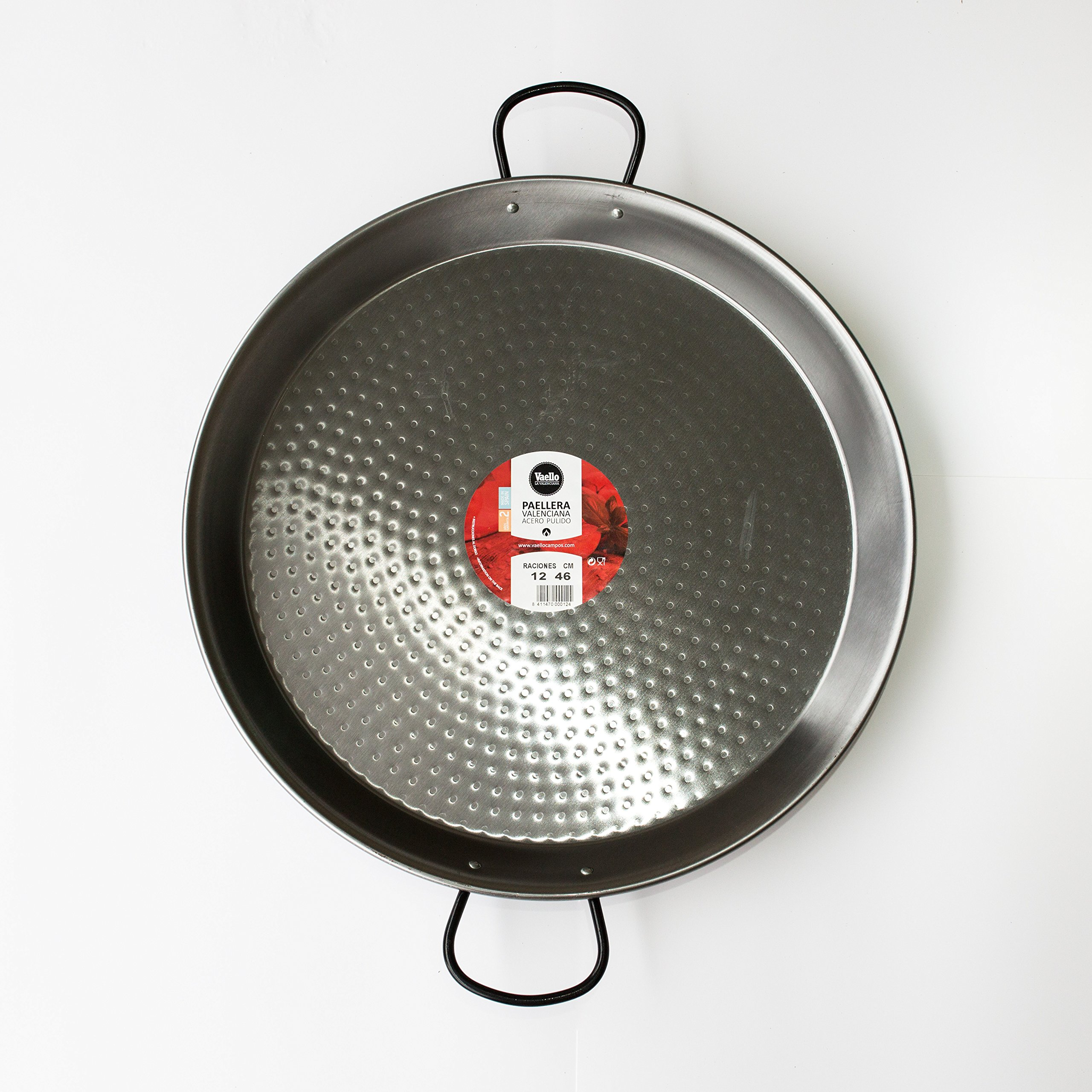 Polished Steel Valencian paella pan 18Inch / 46cm / 12 Serving