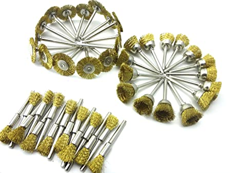 Wire Brass Brush Brushes Wheel Set Accessories for Rotary Tools 15pcs ☆