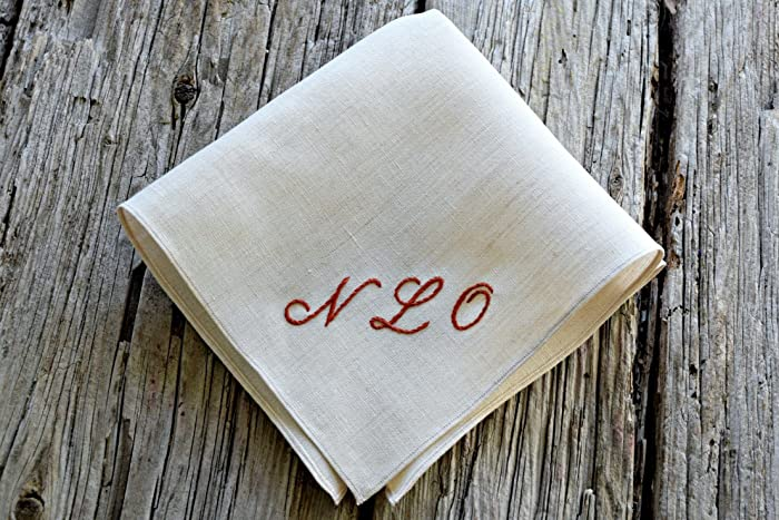 Amazon Com Oatmeal Irish Linen Handkerchief With Hand Embroidered