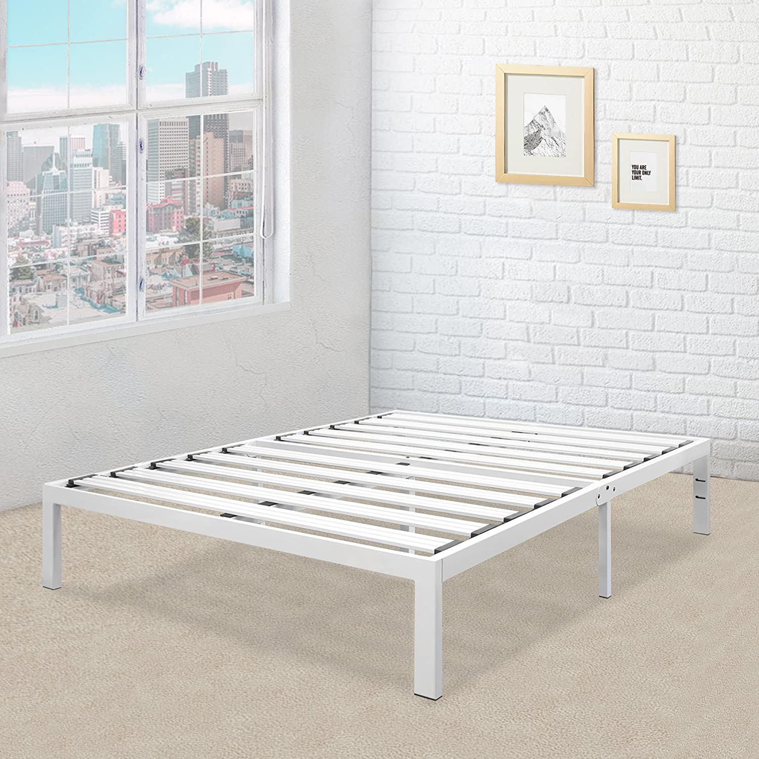 Heavy Duty Steel Slat Platform Bed White, Twin / Sturdy, Durable Metal Bed Frame