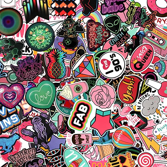 200 Pieces Starry Sky Stickers Animal Stickers Neon Light Stickers Graffiti Cartoon Stickers Laptop Assorted Waterproof Vinyl Decals for Water Bottle Skateboard Motorcycle Bicycle (Cute Style)