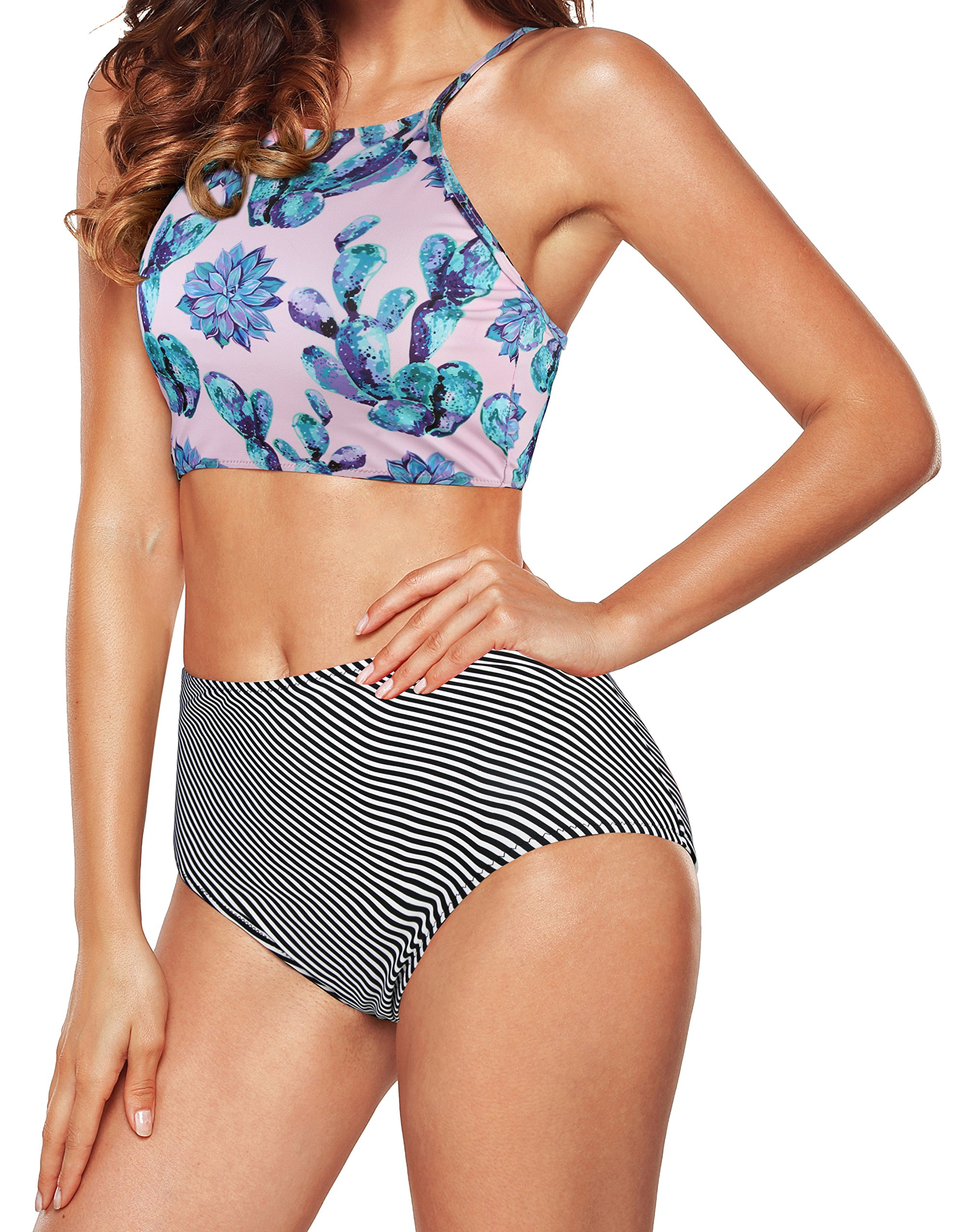 ebc2b1efc658e Galleon - Angerella Crop Top Swimsuits Banded Bikini Two Piece Cute Swimwear  Juniors Bathing Suit Pink,2XL