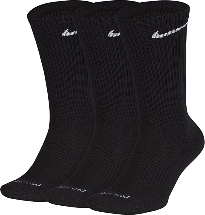 Nike Crew Cut Socks 3 pack (XL (Fits mens shoe size 12-15), Black)