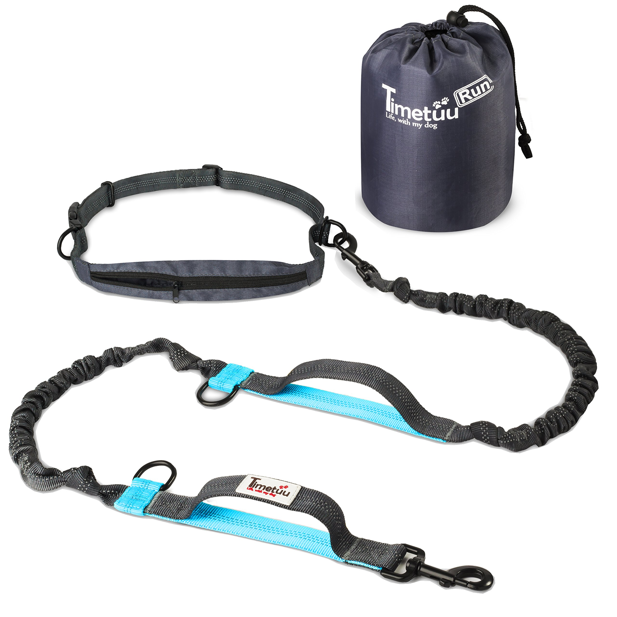 TimeTuu Run Adjustable Hands Free Dog Leash Two Elastic Bungees For Shock Absorption With Waist Belt Pouch - 60 Inches Long Turquoise Blue