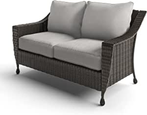 Royal Garden Patio Loveseat - Patio Furniture - Handwoven Wicker - Patio Set Piece - Rome Collection - Weather Resistant, Trendy, Modern