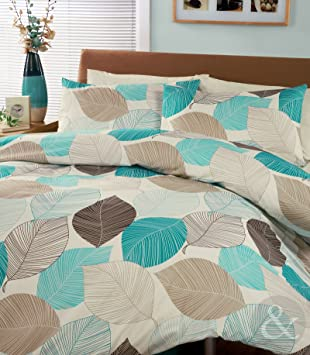 leaves duvet cover poly cotton printed bedding bed quilt cover teal blue brown beige taupe