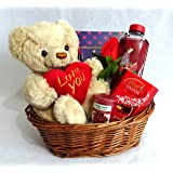Valentines Day Gift Basket/Hamper for her, Birthday Gift for Wife/Girlfriend, Girlfriend gifts, Gifts for wife, Christmas gift for Girlfriend TEDDY HAS BEEN SUBSTITUTED SEE IMAGES