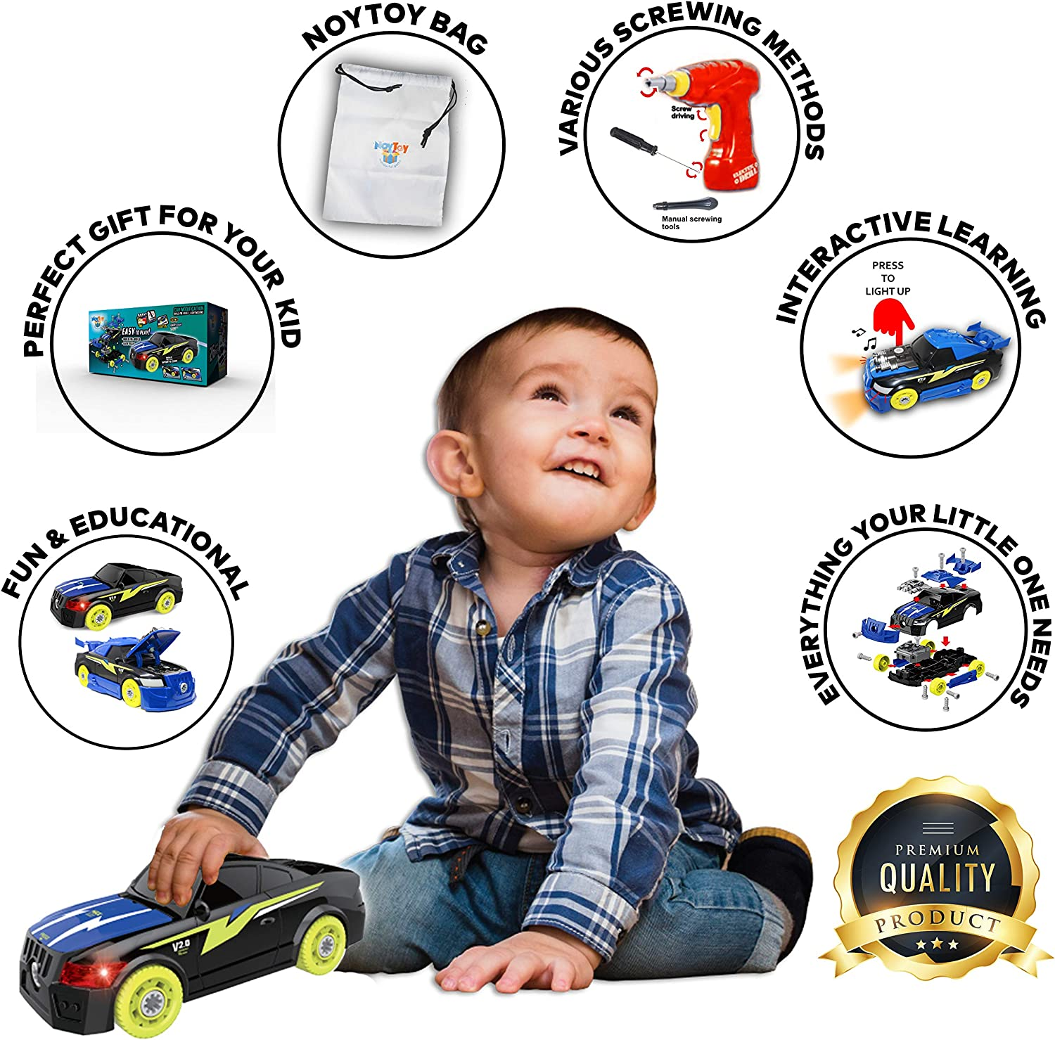 STEM Toys Gift for Boys and Girls 3 4 5 6 7 Year Old 26 Pcs DIY Car Educational Toy Kit 2 in 1 Take Apart Toy Racing Car with Electrical Drill Tool and Screws Storage Bag Build Your Own Car Set