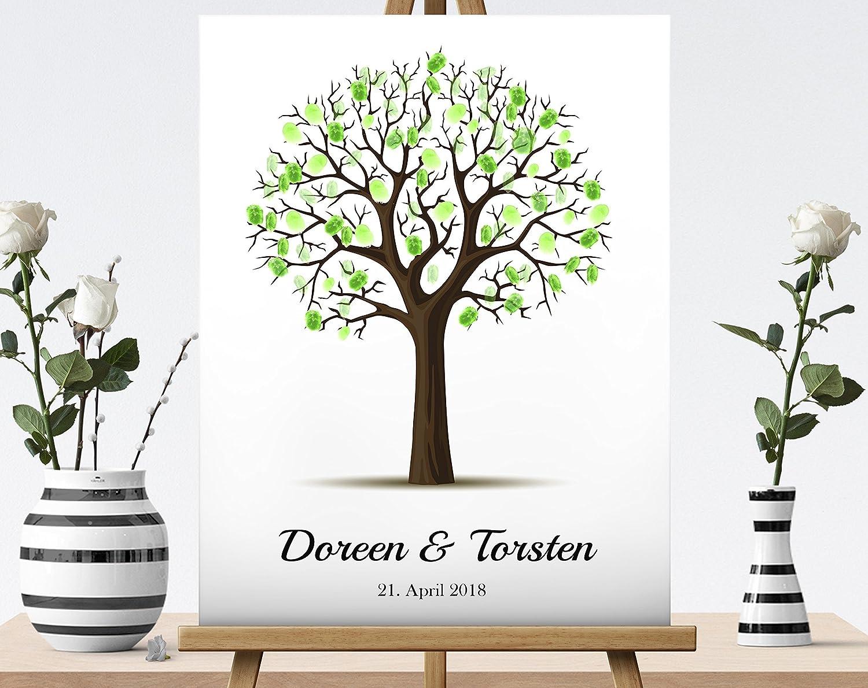 40x30 cm Wedding Tree L'albero della vita | essere firmato Albero tela impronte digitali albero matrimonio compleanno libro degli ospiti | effetto finto legno| Un guestbook originale per il matrimonio | l'albero delle impronte