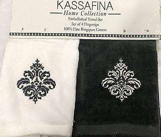 Kassa Fina Home Collection Embellished Towel, Set Of 4 Fingertips, White & Dark Gray