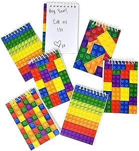 60 Bulk Pack Colorful Building Block Bricks Mini Notepads Spiral Notebooks Kids Carnival Birthday Theme Party Favor Supplies Decoration for Teens Girls Boys Teacher Children Classroom Rewards