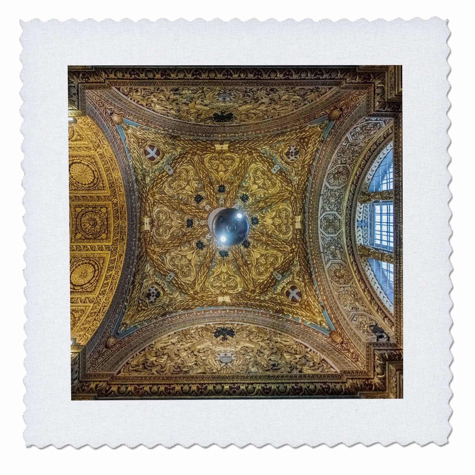 3dRose Danita Delimont - Churches - Malta, Valletta, St. Johns Co Cathedral Ceiling - 16x16 inch quilt square (qs_277699_6)