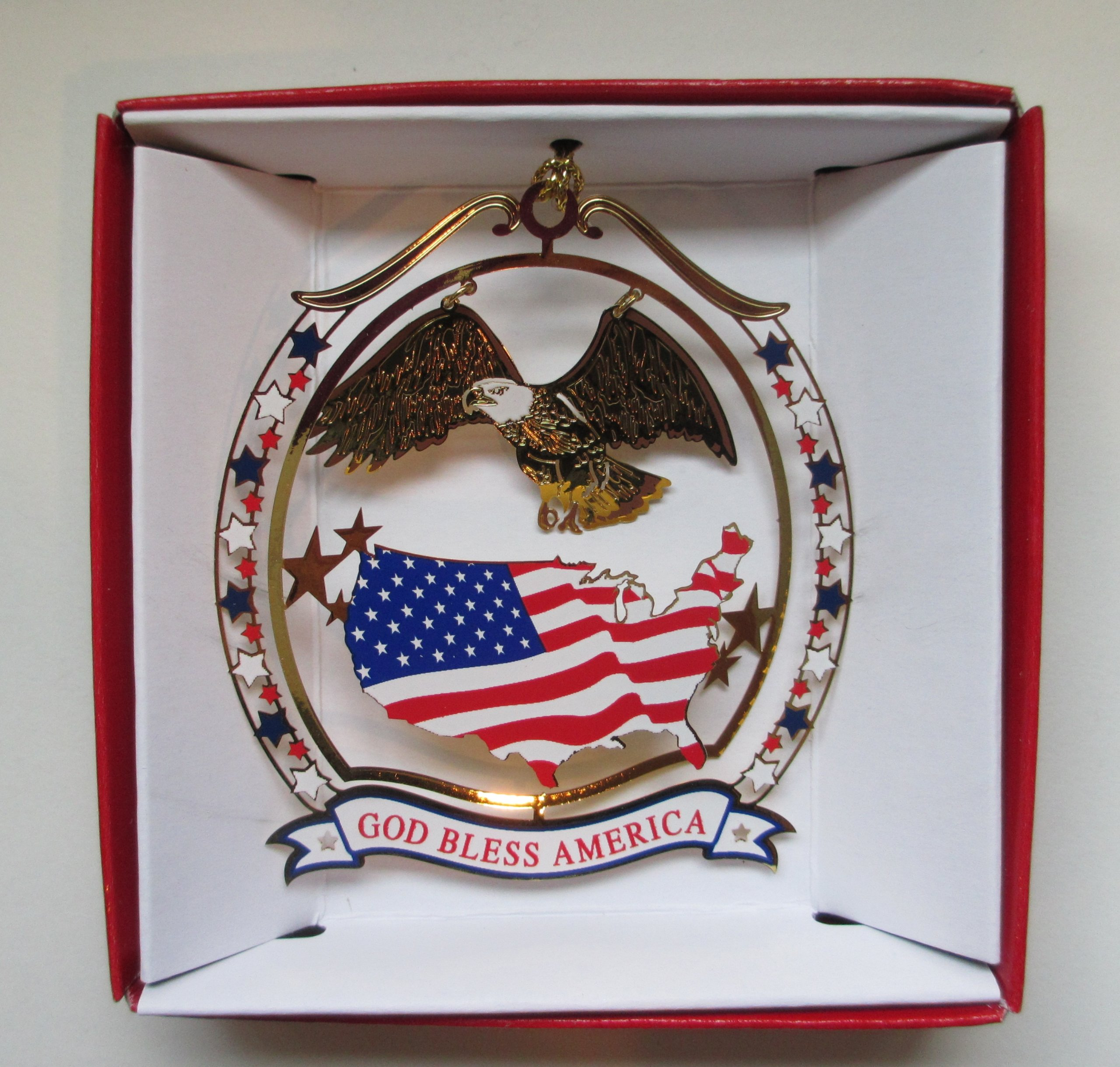 God Bless America Christmas ORNAMENT Patriotic Eagle USA Flag