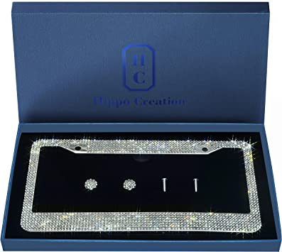 1 Pack Luxury Handcrafted Clear Rhinestone Premium Stainless Steel Bling License Plate Frame with Gift Box   1000+ pcs Finest 14 Facets SS20 Clear Rhinestone Crystal   Anti-Theft Screw Cap