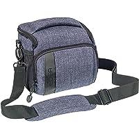 """PEDEA SLR-Kameratasche """"Fashion"""" Kameratasche Umhängetasche mit Regenschutz und Displayschutz für Panasonic Lumix DMC-FZ300, FZ72, G70, G81, GM5, GX80 / Nikon D5600 / Sony DSC-HX400V, SLT-A57, SLT-A65, SLT-A77 (Größe L), grau"""