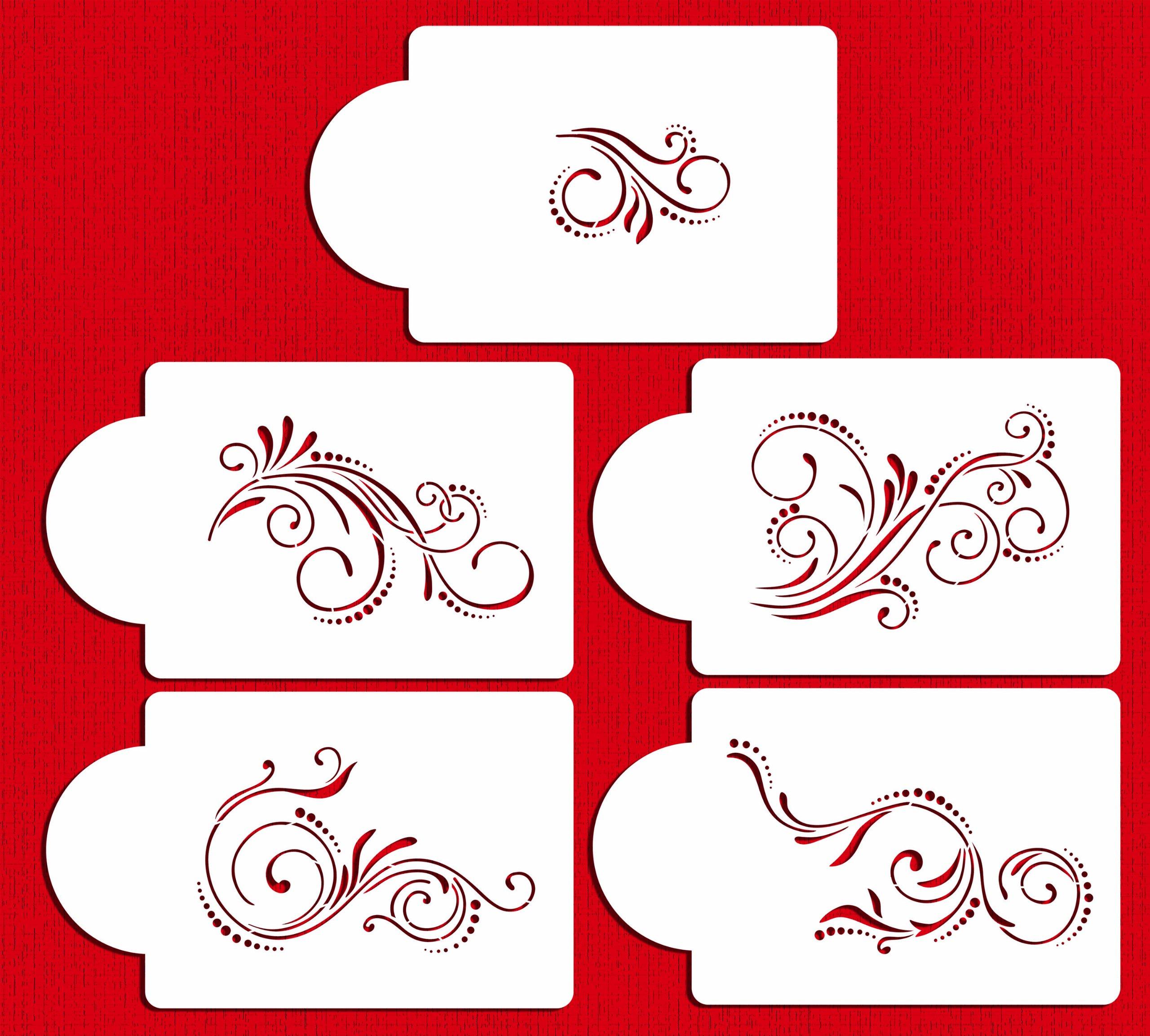 Designer Stencils C480 Five Scroll Cake Stencil Set, Beige/semi-transparent