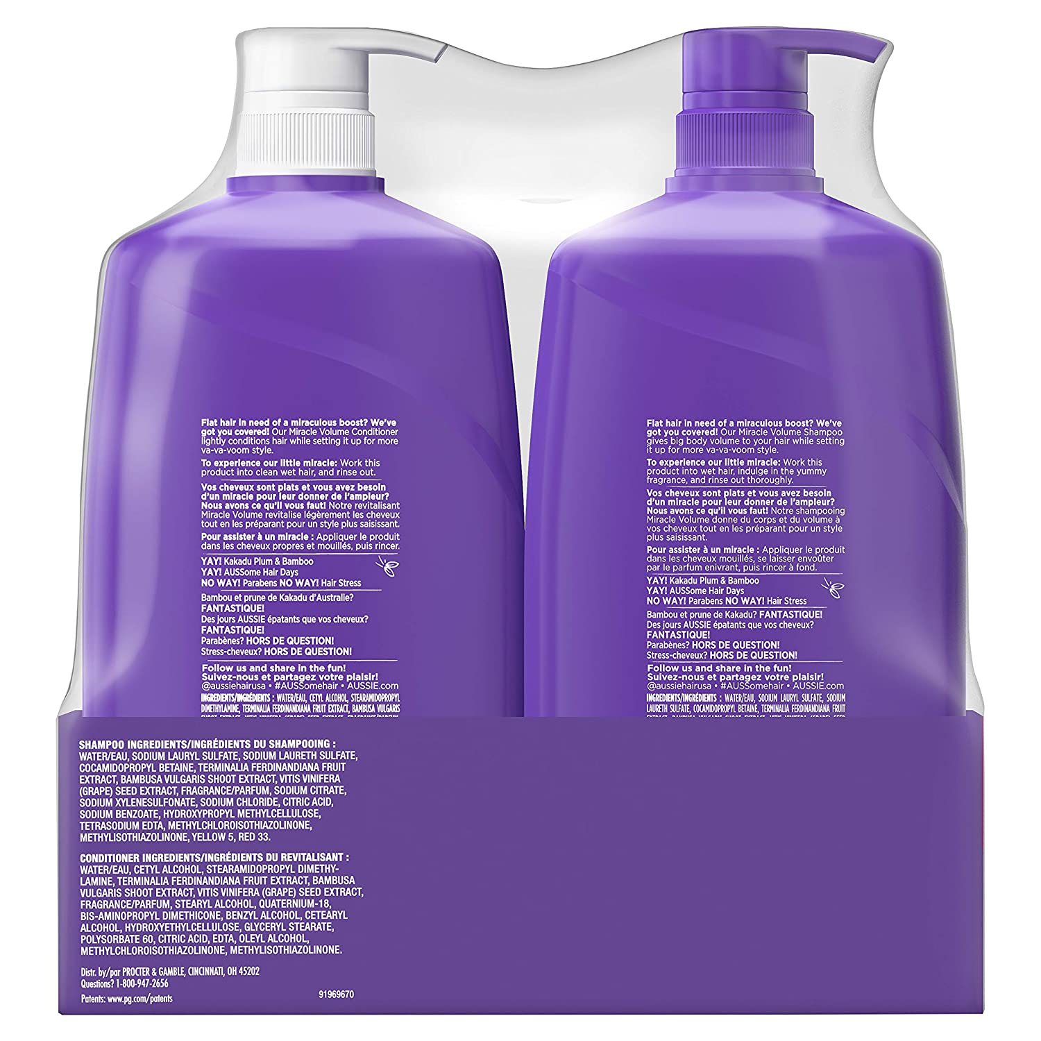 Aussie Miracle Volume With Bamboo Kakadu Plum Paraben Free Shampoo Conditioner 26 2 Fl Oz Dual Pack 52 4 Fl Oz Pack Of 2 Amazon Com Grocery Gourmet Food