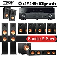 Klipsch RP-280F 7.1.2-Ch Reference Premiere Dolby Atmos Home Theater System with Yamaha AVENTAGE RX-A670BL 7.2-Ch 4K Network AV Receiver