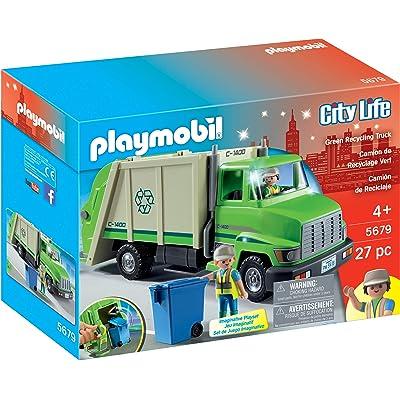 PLAYMOBIL Green Recycling Truck: Toys & Games