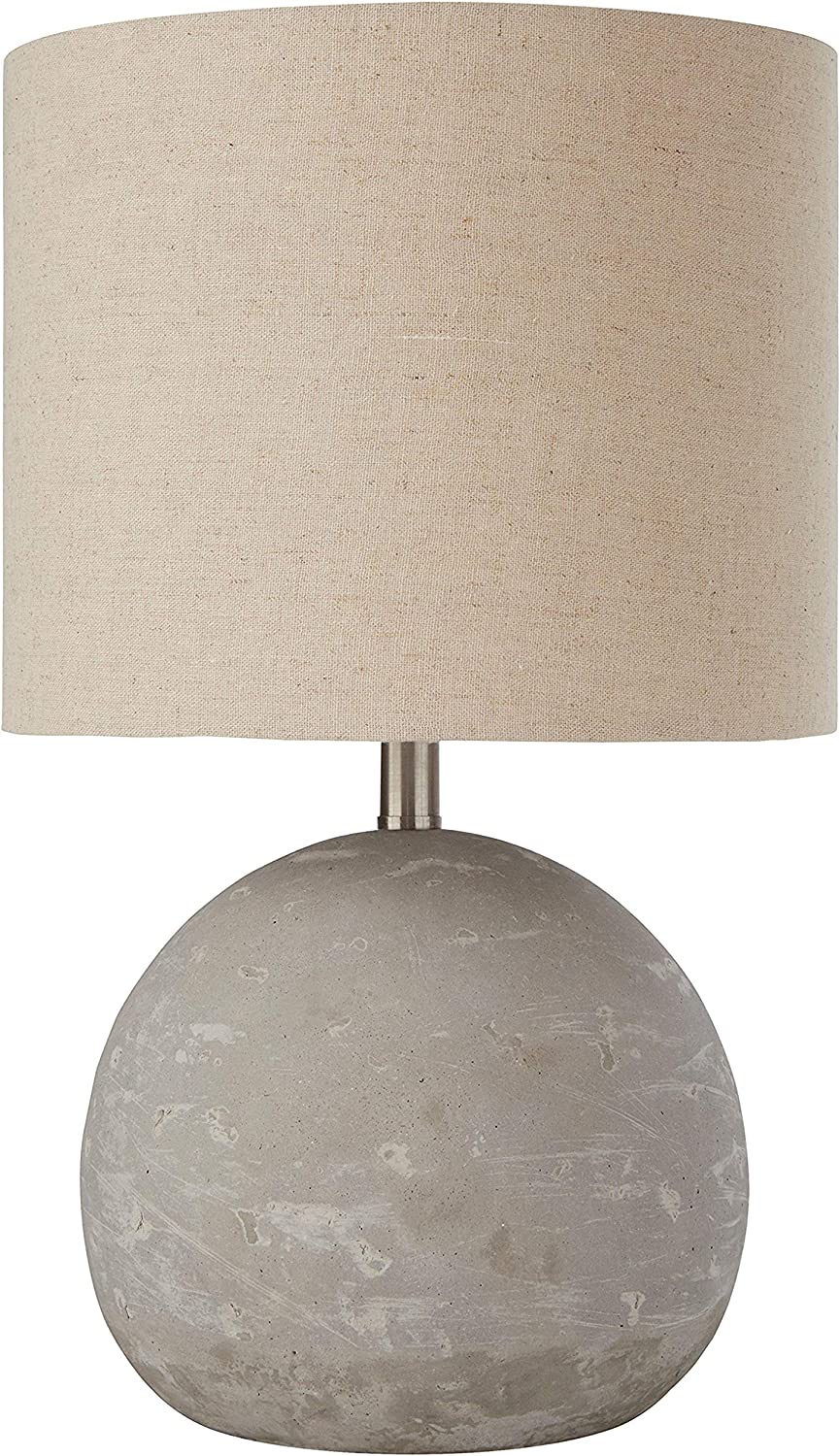 Amazon Brand Stone Beam Industrial Round Concrete Table Desk Lamp With Light Bulb And Beige Shade 16 H Brushed Nickel Amazon Com