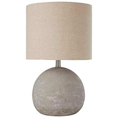 Stone & Beam Industrial Decor Round Concrete Table Desk Lamp With Light Bulb and Brown Shade - 10 x 10 x 16 Inches, Brushed Nickel