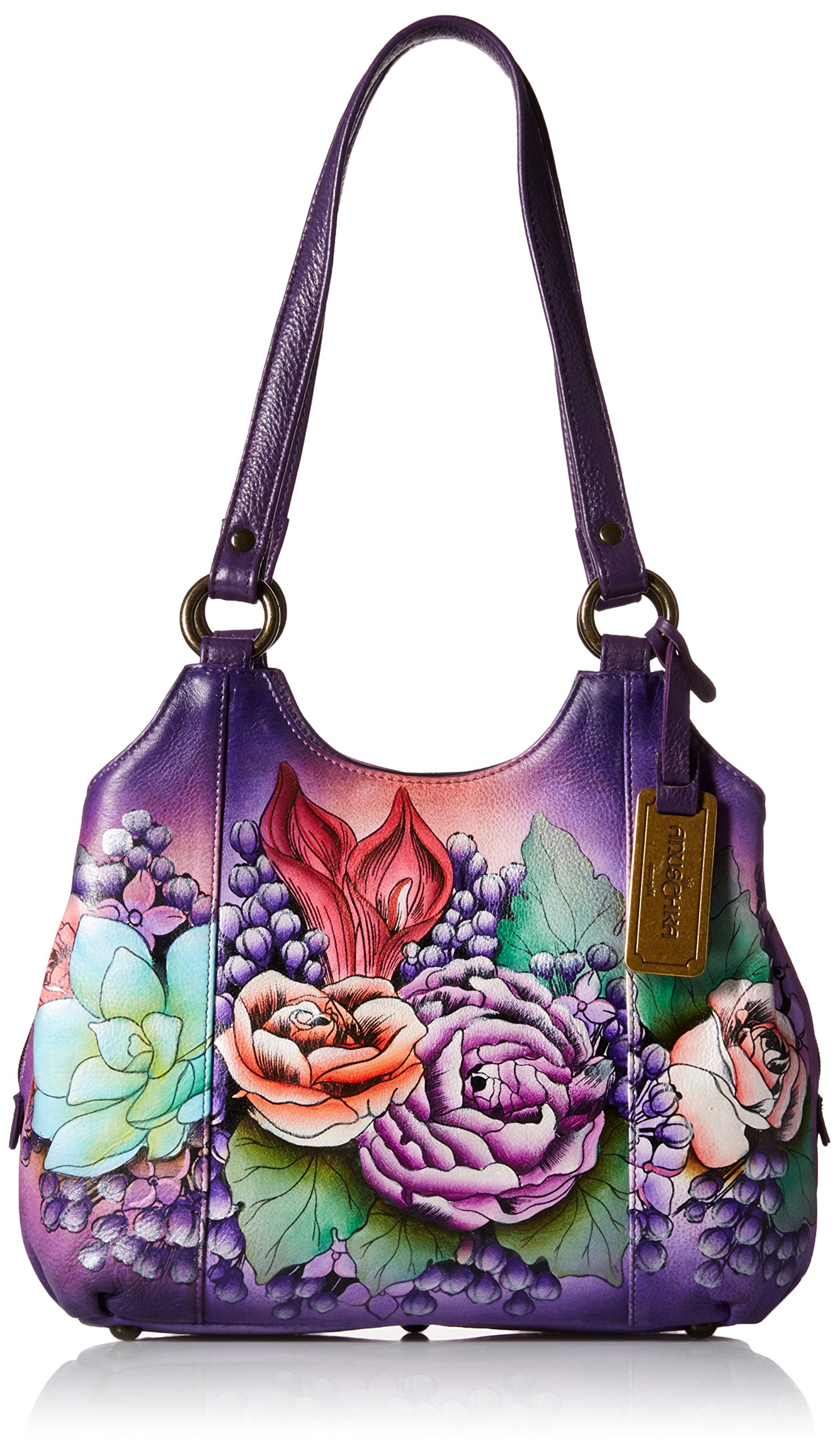 Anuschka Handpainted Leather 469-LLC Triple Compartment Medium Satchel, Lush Lilac, One Size