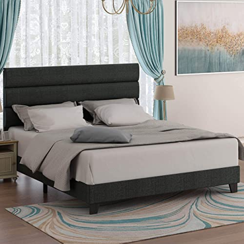 Amolife Queen Size Fabric Upholstered Bed Frame