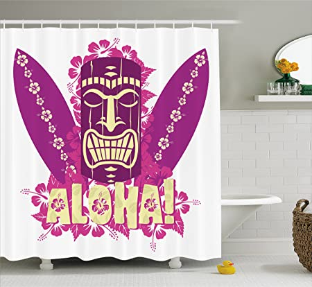 Tiki Bar Decor Shower Curtain By Ambesonne, Tiki Culture Figure Surfboards  Hibiscus Hand Drawn Aloha