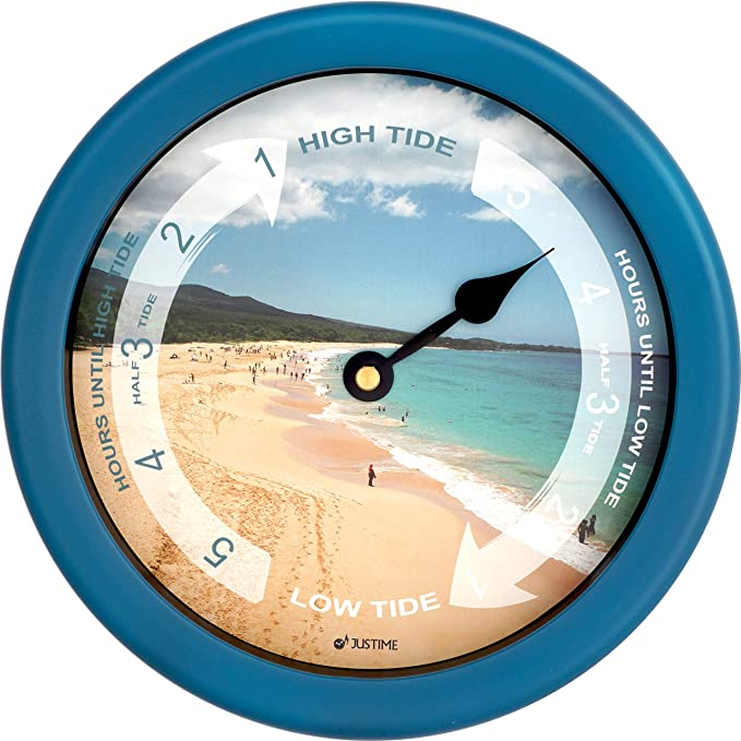 8.5 Inch Tide Clock Colorful Digital Graphics Designed, Quality Plastic Water Resistant Case, Home Wall Décor (TT023-Beach Blue)