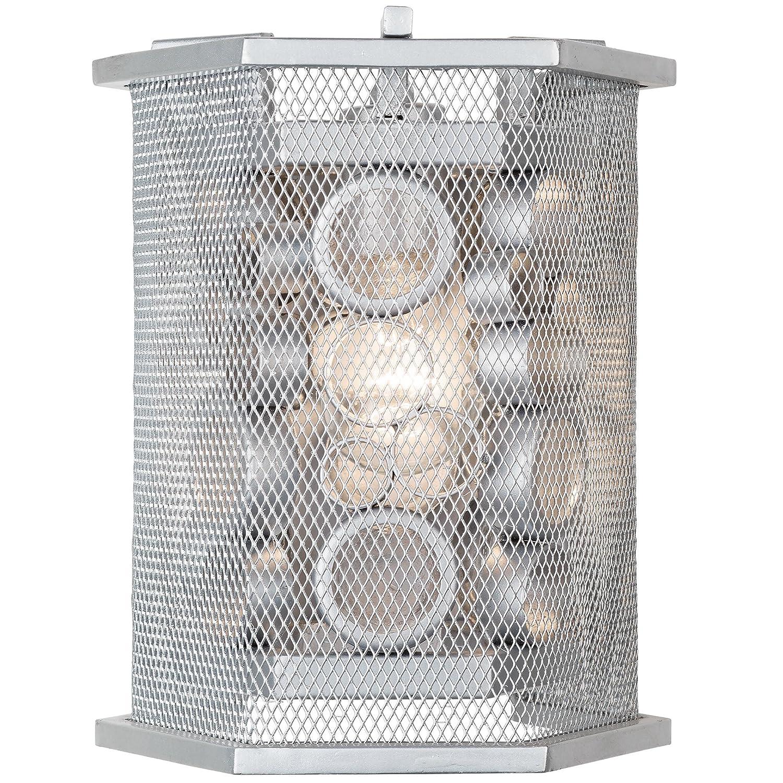Varaluz 293 W01ms Fascination 1-light六角壁取り付け用燭台 – メタリックシルバー仕上げリサイクル透明ガラス B06XT7TK4G