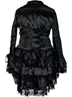 Plus Size Victorian Steampunk Gothic Punk Corset Black Satin Ruffled Tail Jacket