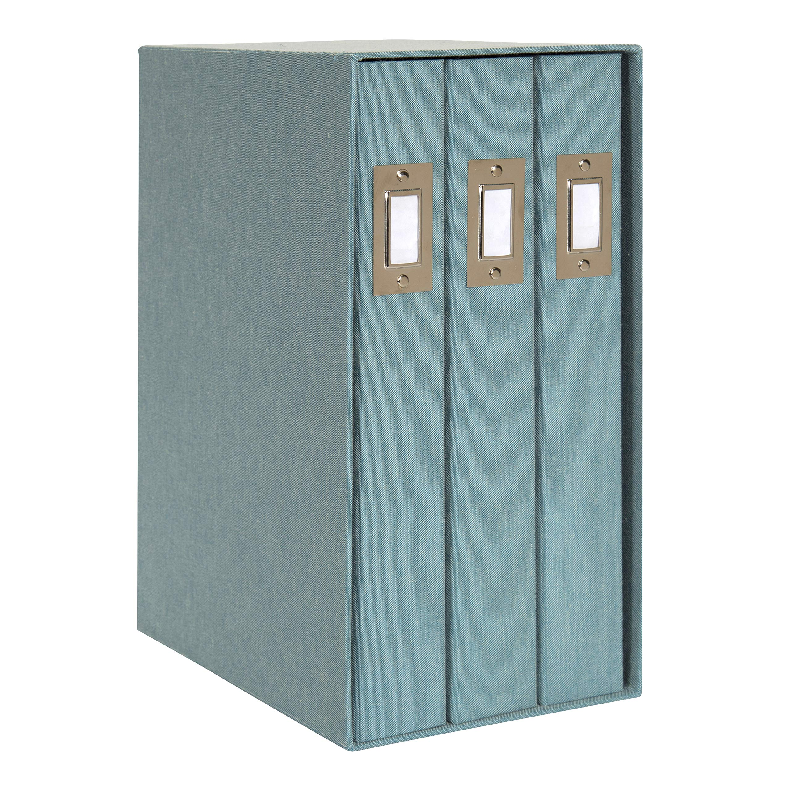 DesignOvation Cydney Set of 3 Large Fabric Albums in Display Box, Holds 4x6 Photos, 300, Teal by DesignOvation