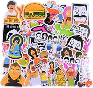 (50 pcs) Bob's Burger Stickers tv Show Creative DIY Stickers Funny Decorative Cartoon for Waterbottle Cartoon Hydro Flask Luggage Computer Notebook Phone Home Wall Garden Window Snowboard