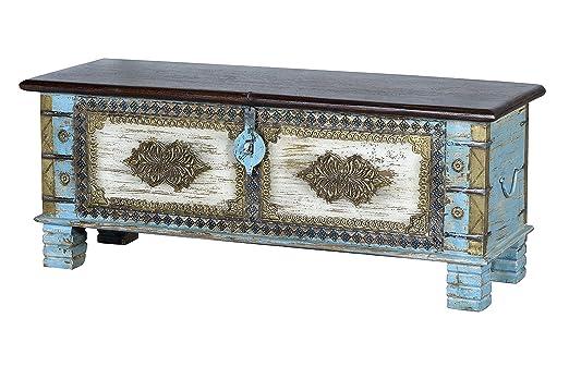 GINER Y COLOMER Baúles Decorativos - Baúl Madera Azul/Bronce ...