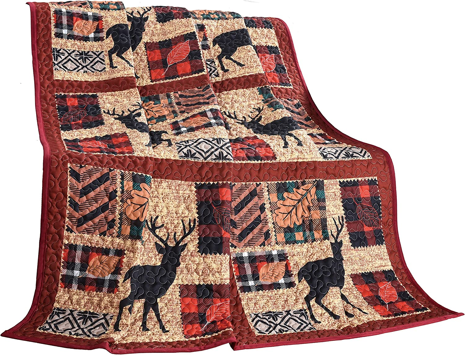 """LL Home Fall Quilt Decorative Throw Blanket, (60""""x50""""), Patchwork Deer"""