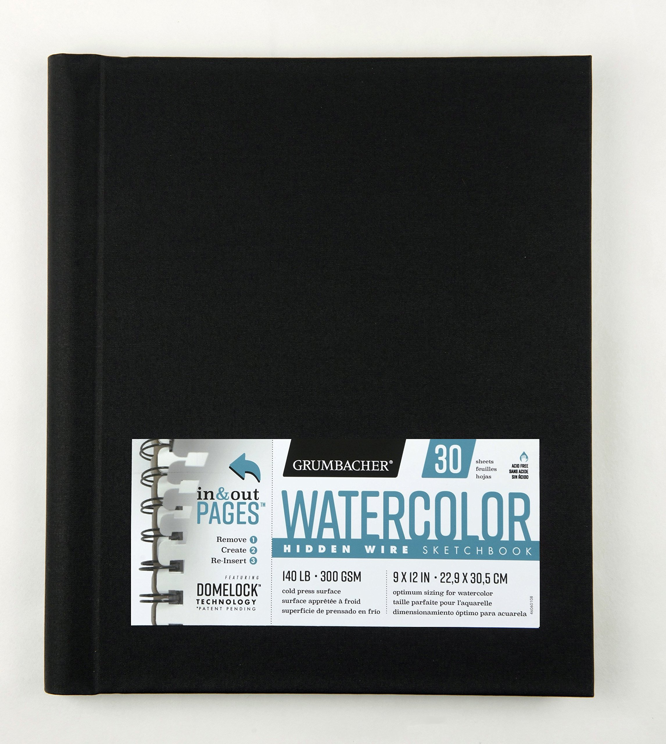 Grumbacher Watercolor Paper Hardcover Sketchbook with In and Out Pages and Hidden Wire, 140 lb/300 GSM, 9 x 12 Inches, 30 White Cold-Press Sheets, 460601063