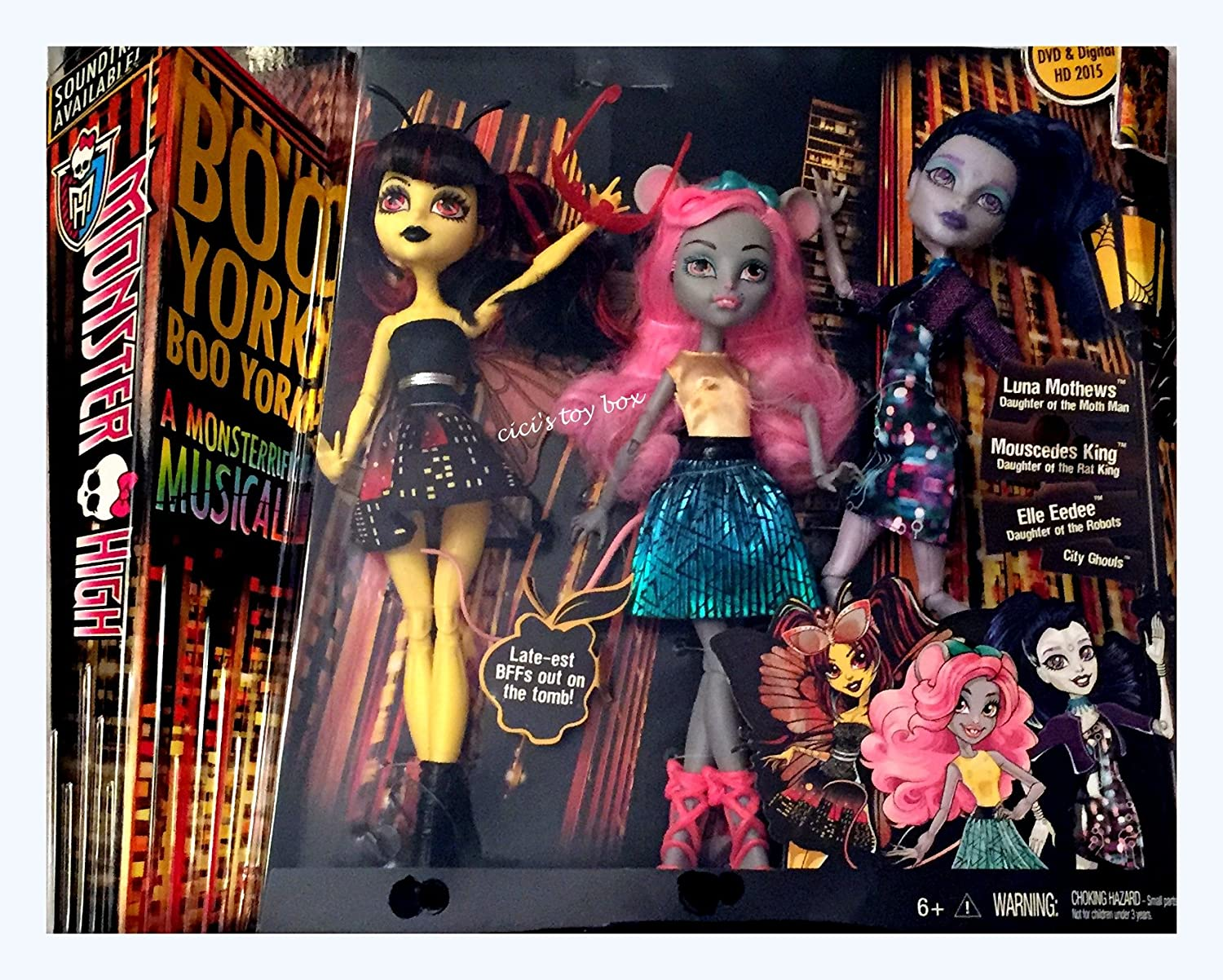Amazon.es: Mattel Monster High Boo York Boo York A Monsterrific Musical - Luna Mothews, Mouscedes King, and Elle Eedee 3-Pack: Juguetes y juegos