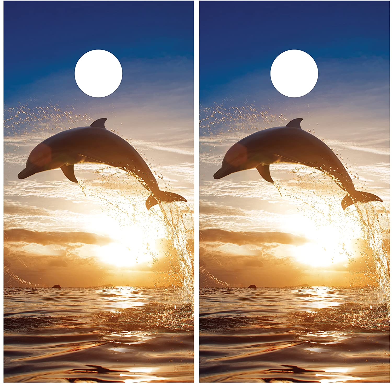 Dolphin JumpingサンセットラミネートCornholeボードデカールラップラップ